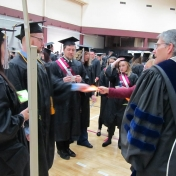 Students check in before commencement begins